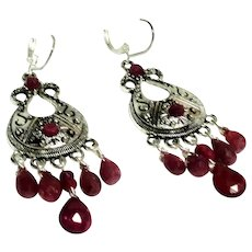 JFTS Natural Ruby Chandelier Earrings