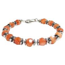 JFTS Natural Sunstone & Hematite Beaded Bracelet