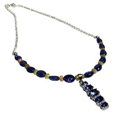 JFTS Tanzanite & Ethiopian Opal Necklace W/Tanzanite Pendant