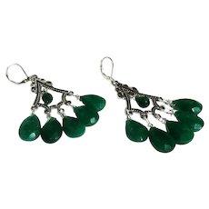 JFTS Dyed Emerald Chandelier Earrings