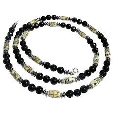 JFTS Men's Black Onyx, Carved Bone & Hematite Necklace
