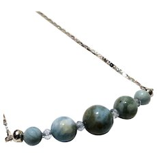 JFTS 925 Sterling Silver Larimar & Topaz Necklace