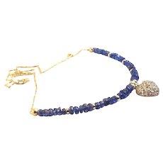 JFTS Tanzanite Necklace & Diamond Heart Pendant