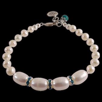 JFTS' Cultured Freshwater Pearls & Swarovski Crystal Bracelet