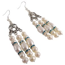 JFTS' Cultured White Freshwater Pearls & Swarovski Aqua Crystals Earrings