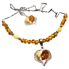 JFTS Yellow & White Amber Necklace Earrings 2 pc Set