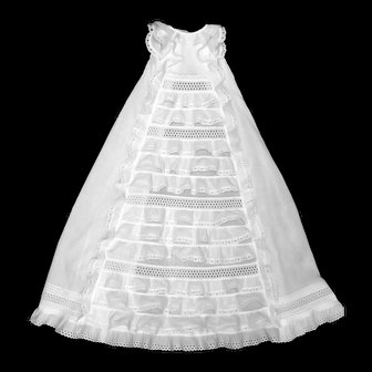 French Heirloom Christening Gown withTiers of Ruffles, Brussel's Lace, Fine Batiste Fabric