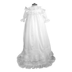 Elegant Vintage Christening Gown with Double Ruffles and matching Full Slip