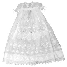 Heirloom Christening Gown with Charming Tulip Motif and Tiered Broderie Anglaise Ruffled Front, Original