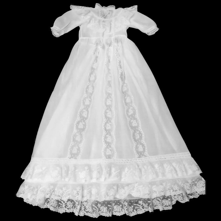 Vintage French Christening Gown; Finest Batiste & Brussels Lace ...