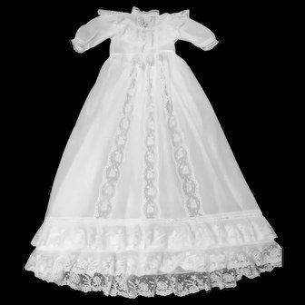 Vintage French Christening Gown; Finest Batiste & Brussels Lace Tiers and Bodice