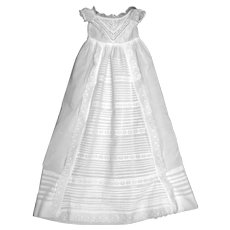 Heirloom European Christening Gown with Lace V Neck Bodice and Waterfall Ruffled Pleated Skirt