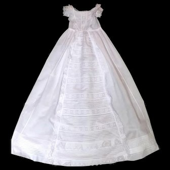 French Heirloom Christening Gown Waterfall Design, Broderie Anglaise, Pin-tucks and Lovely Bodice