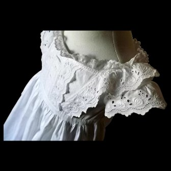 French Country Heirloom Christening Gown, Elaborate Broderie Anglaise Bodice