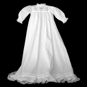 Heirloom French Christening Gown, Lace Bodice and Lace Ruffled Hem