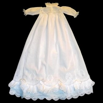 Heirloom Christening Gown with Bountiful Double Ruffled Hem, Tiny Pleating, and Embroidery