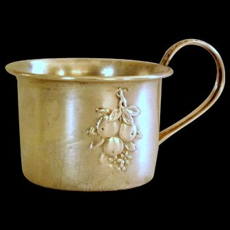Antique Embossed and Engraved Sterling Silver Baby Cup 1875 - 1890