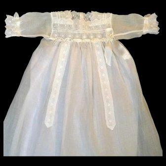 French Heirloom Christening Gown Of Voile and Lace