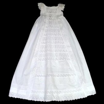 French Heirloom Christening Gown with an Abundance of Broderie Anglaise