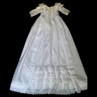 French Heirloom Christening Gown: Tiers of Ruffles & Embroidery, Lace & Pleating