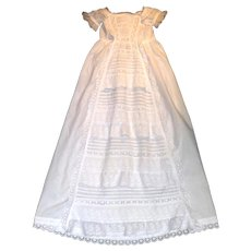 Heirloom Christening Gown, Waterfall, Ruffles, Rich with Broderie Anglaise, Frills, and Pintucks