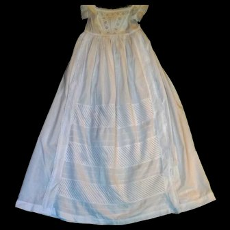 Victorian Christening Gown, Intricate Bodice and Detailed Ruched Panels & Pleats