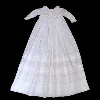 Heirloom Christening Gown Rich with Ayrshire Needlework of Floral Motifs, French Lace and Tiered Full Robes