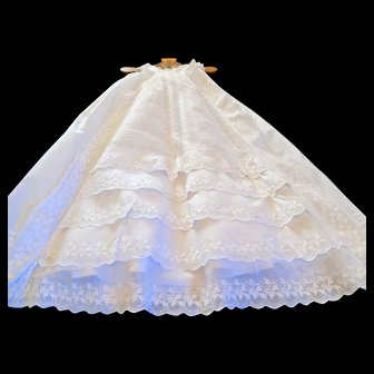 Heirloom Christening Gown Richly Embellished & Embroidered Tiers of Ruffles