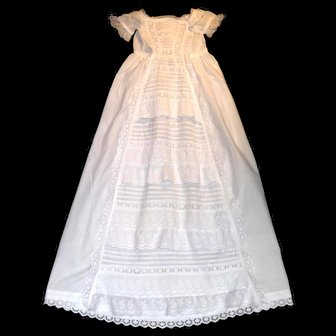 Heirloom Christening Gown, Waterfall, Ruffles, and  and Rich with Broderie Anglaise, Frills, and Pintucks
