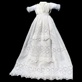 French Christening Gown Sunflower Motif Set in Tiers, and French Lace Accents