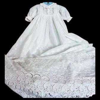 Exquisite Devonshire Christening Gown, Honiton Bobbin Lace  & Flower Garden Motif