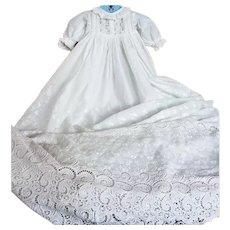 Original Devonshire Christening Gown, Honiton Bobbin Lace  & Flower Garden Motif