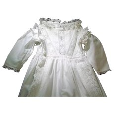 Heirloom Christening Gown, Finely Detailed Needlework, Ruffles, Broderie Anglais