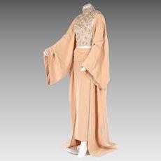 A Unique Jean-Louis Scherrer by Stephane Rolland Haute Couture Runway Beaded Crêpe de Chine Evening Dress  Cape and Beaded Top Ensemble