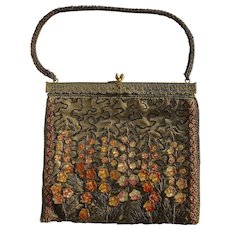 A Rare Vintage 1920s Bronze Lamé silk Handbag Purse, Beaded and Embroidered with Lucite Flowers