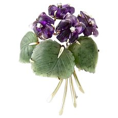 An Art & Crafts Period Suffragette Flower Spray Brooch Pin of Carved Amethyst, Diamond, Jade, Nephrite