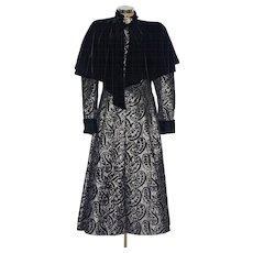 An Authentic 1988 Emanuel Ungaro Haute Couture Silver Brocade and Black Velvet Coat