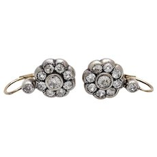 Spectacular Victorian 2.20 cts Diamond Drop Earrings