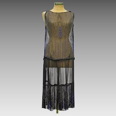 Striking Vintage 1920s Black and Blue Glass Beaded Chiffon Flapper Dress