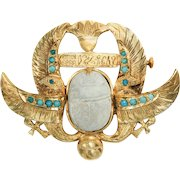 Art Deco Scarab and Turquoise Pin Brooch, Egyptian circa 1929