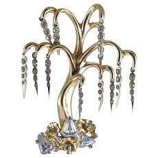 Coro Pegasus 'Adolph Katz' Weeping Willow Tree Pin with Gold Wash, Rhinestones and Molded Glass Aurora Borealis Acorn Crystals.