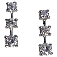 Vintage Triple Diamond Drop Earrings Set In14KT White Gold
