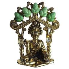 Vintage Coro Buddha of Fearlessness Brooch Pin, Adolf Katz