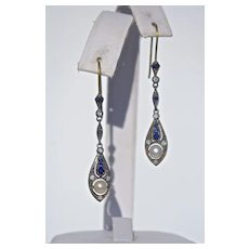 A Pair of Art Deco Sapphire Pearl and Diamond Drop Earrings