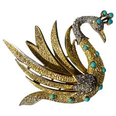 A Signed Trifari Turquoise and Gold Tone Swan Brooch