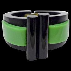 A Vintage Art Deco Green and Black Bakelite Clamper Bracelet