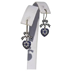 Exquisite Vintage Sapphire and Seed Pearl Heart Shaped Drop Earrings