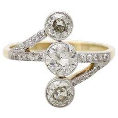 An Unusual Art Deco Diamond Three Stone Ring Set in 18KT Yellow Gold