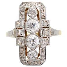 Spectacular Art Deco Four Stone Diamond Ring