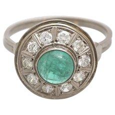 A Vintage Art Deco Diamond and Emerald Cabochon Halo Ring Set in 14KT White Gold Band